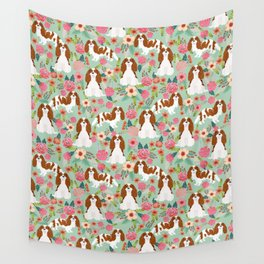 Blenheim Cavalier King Charles Spaniel dog breed florals pattern Wall Tapestry