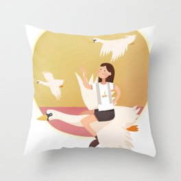 Fly Girl And White Swan Throw Pillow