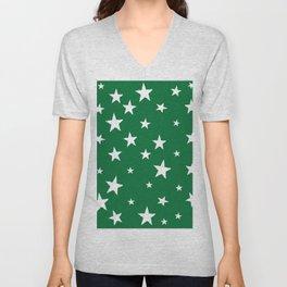 Hand-Drawn Stars (White & Olive Pattern) Unisex V-Neck