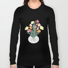 Bouquet of tulips in glass vase Long Sleeve T-shirt