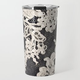 black and white lace- Photograph of vintage lace Travel Mug