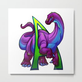 A is for Apatosaurus Metal Print