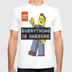 Kirby Krackle -Everything Is Awesome! (Lego style shirt) MEDIUM White Mens Fitted Tee