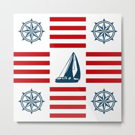 Nautical pattern Metal Print