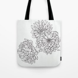 Ink Illustration of Summer Blooms Tote Bag
