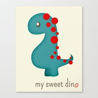 dino Canvas Prints featuring Dino by Jane Mathieu
