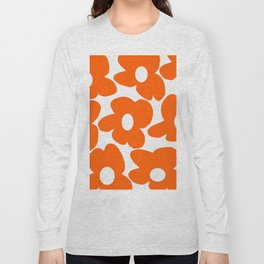 Orange Retro Flowers White Background #decor #society6 #buyart Long Sleeve T-shirt