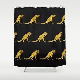 Golden T.Rex Pattern Shower Curtain