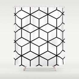 Black and White - Geometric Cube Design I Shower Curtain