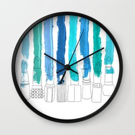 Lipstick Stripes - Blue Teal Turquoise Wall Clock