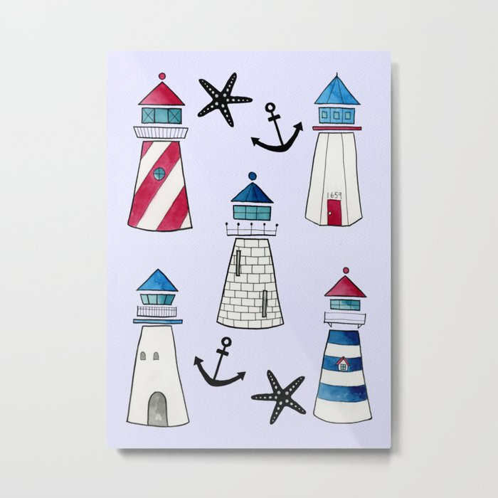 Watercolor Lighthouses Metal Print
