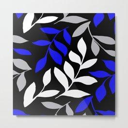 BLUE leaf Black leaf  Gray leaf Pattern Metal Print