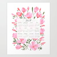 2019 calendar with pink watercolor poppies Art Print