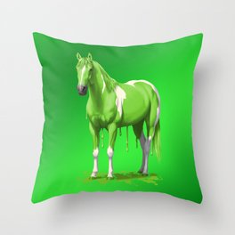 Lime Green Pinto Dripping Wet Paint Horse Throw Pillow