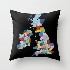 UK on Black Throw Pillow
