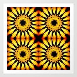 Gold Pinwheel Flowers Art Print