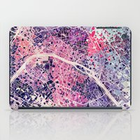 paris map iPad Cases featuring Paris Mosaic map #1 by Map Map Maps