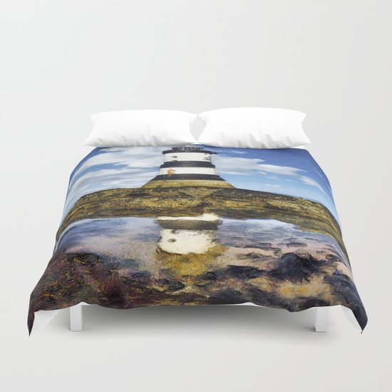 Penmon Lighthouse Painting Duvet Cover