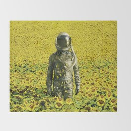 Stranded in the sunflower field Throw Blanket