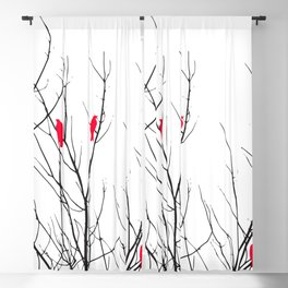 Artistic Bright Red Birds on Tree Branches Blackout Curtain