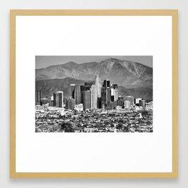 Los Angeles California Skyline - Black and White Framed Art Print
