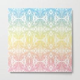 Color Gradient Floral Doodle Pattern Metal Print