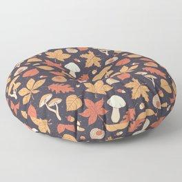Autumn Pattern on Dark Blue Floor Pillow