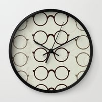 glasses Wall Clocks featuring (Glasses) by Mr and Mrs Quirynen