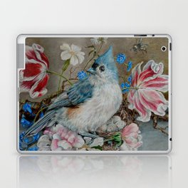 Blue Titmouse and Bee with floral still life Laptop & iPad Skin