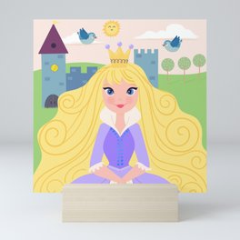 Fairy Tale Princess With Her Story Book Castle - Purple Dress Mini Art Print