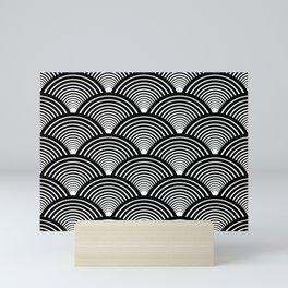 Art Deco Fans Black and White Mini Art Print