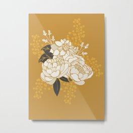 Glam Florals - Gold Metal Print