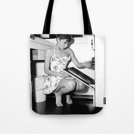 Audrey Hepburn in Kitchen, Black and White Vintage Art Tote Bag