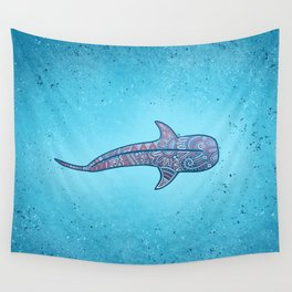 Whale Shark - pink and blue Wall Tapestry