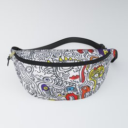 Pattern Doddle Hand Drawn  Black and White Colors Street Art Fanny Pack