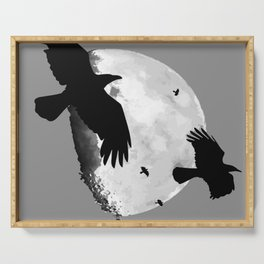A Murder Of Crows Flying Across The Moon Serving Tray