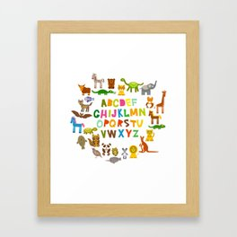 back to school. alphabet for kids from A to Z. funny cartoon animals Framed Art Print