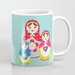 Turquoise babushka , matryoshka , russian doll , nursery decor , children gift, birthday gift Coffee Mug