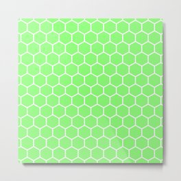 Honeycomb (White & Light Green Pattern) Metal Print