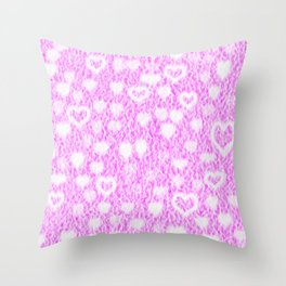 Pink Fluffy Hearts Throw Pillow