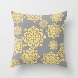 Floral Designs with yellow and grey colour Throw Pillow