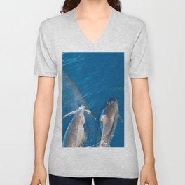 Dolphins with rainbow Unisex V-Neck