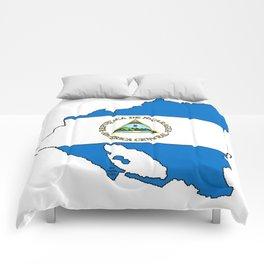 Nicaragua Map with Nicaraguan Flag Comforters