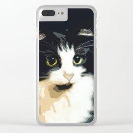 Cute Black and White Tuxedo Cat Clear iPhone Case
