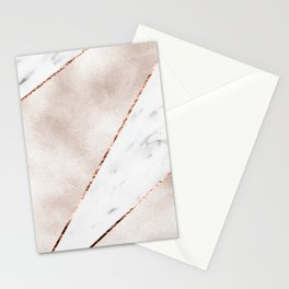 Spliced rose gold marble Stationery Cards