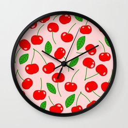 Illustrated Cherry Pattern Wall Clock