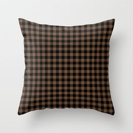 Classic Brown Coffee Country Cottage Summer Buffalo Plaid Throw Pillow
