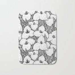 Puya Flowers Floral Pattern Greyscale Bath Mat