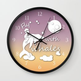boy flying with whale Wall Clock