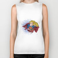 supergirl Biker Tanks featuring Supergirl by Waterflybooks